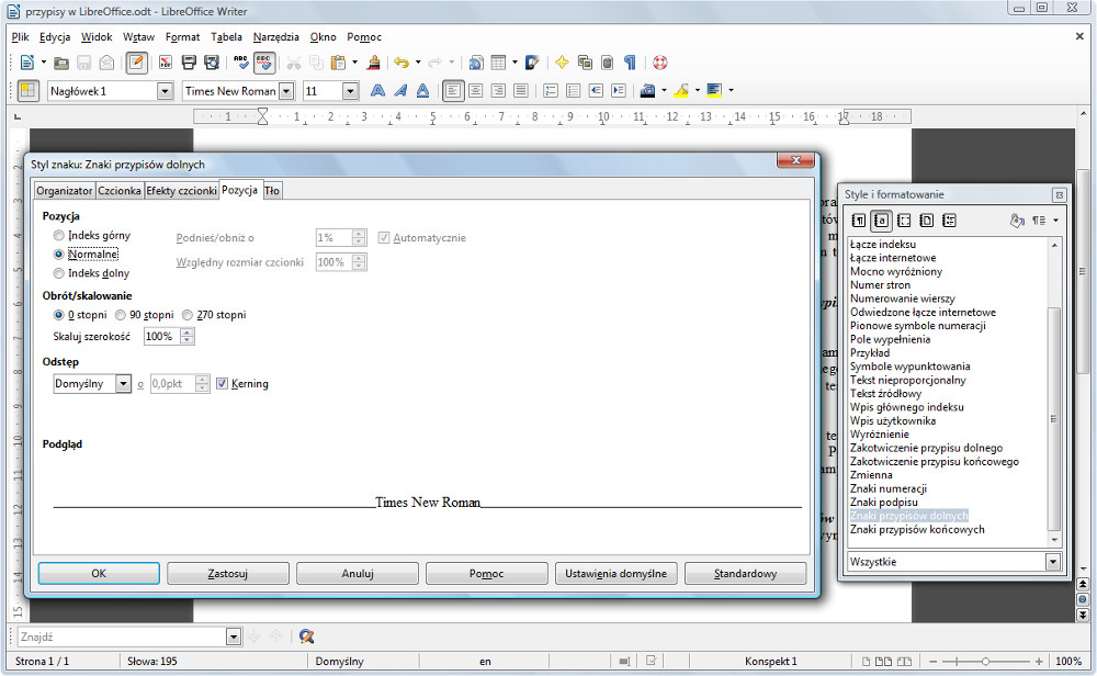 Wstawianie i edycja przypisów w LibreOffice